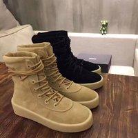 Wholesale With Box Women Men Cow Split Suede True Leather Season Crepe Boots Kanye West Boots Shoes EUR