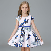 american printing house - Big Grils princess dress spring summer children house leaves printing one piece Fashion New kids pu belt party dresses T0527