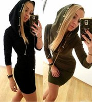 Casual Dresses Bodycon Dresses Winter new Women Bodycon Dresses bottoming shirt Fashion Metal chain buckles Hooded Long sleeves sweaters Dresses Package Hip Skirt