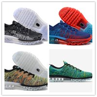 Wholesale new colors quality fly knit Knitting maxes running shoes man purple black red white blue gray sneakers with box