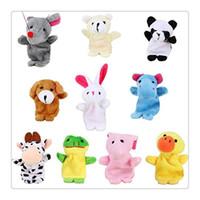 Wholesale 10PCS Set Lovely Baby Activity Plush Dools Cartoon Finger Puppet Animal Shape Infant Finger Toys Animal Finger Hand puppets Toy