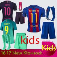 Wholesale New kids Jersey Socks MESSI NEYMAR JR SUAREZ A INIESTA Quality AAA