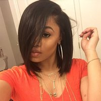 Wholesale Left Part Straight Bob U Part Wigs Natural Hairline For Black Women Indian Remy Hair x4 U Opening Size Human Hair Upart Wig