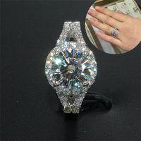 Wholesale Fashion luxury KT white gold filled Ellipse Cushion cut Zircon Gemstone Rings Wedding Brand Jewelry for Women