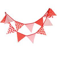 Vente en gros - 12 drapeaux - 3,2M Bandes en tissu de coton Décor Rouge Décoration Baby Shower Garland Décoration d'anniversaire Décoration bleue