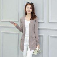 Wholesale Women Cardigan Sweater Korean V neck Long Sleeve Knit Shawl Coat Poncho Gilet Femme Manche Longue Jumper Sweaters Cashmere