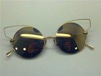 al por mayor gato ronda gafas de sol del ojo de oro-Dita gafas de sol mujer dita BELIEVER 23008 retro forma redonda gato ojos brillantes oro metalizado plateado espejo lente mujeres marca diseñador