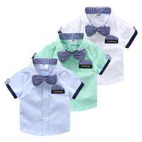babyboy clothing - Babyboy short sleeve shirt summer boys children s child clothing kidsbow tie shirt tx