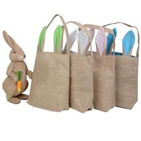 Easter   Easter Bunny Bags Dual Layer Bunny Ears Design handbag Easter rabbit Laptop bag Jute Cloth Material Easter Egg Bags Carrying Eggs Gifts