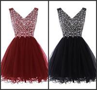 balck models - Little Balck Prom Dress Short Mini Tulle Gown Crystal Beading Sequin V Neck Sleeveless Modest Cheap Party Summer Dress Garden Sweet Years
