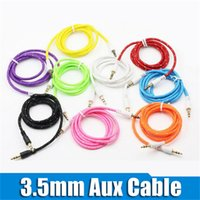Wholesale 3 mm AUX Audio Cables Braided Male to Male Stereo Car Extension Audio Cable for MP3 cell phone OD3