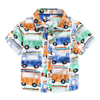 Wholesale Cool boys shirt Brand exported Boys cartoon car print short sleeve shirt Tops cotton summer t shirts boy High quality Kids children clothing