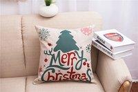 Wholesale Christmas Pillow case cover Cartoon Printed Reversible Cushion Cover Cotton Linen Pillow Cover Home Textiles home sofa car decor gift