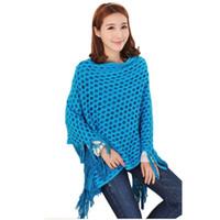 Wholesale Women Tassels Hem Batwing Sleeve Shawl Cape Poncho Knit Cardigan Sweater Coat