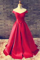 A-Line best elegant evening gown - Best Custom Elegant Red Off Shoulder Lace Up Evening Gowns Ruched Made Backless Corset V Neck Sweep Train Plus Size Prom Dress