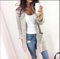 Wholesale Autumn Winter Cardigan For Women Casual Fashion Solid Women Warm Knitted Cardigans O Neck Long Sleeve Long Sweaters Outwear