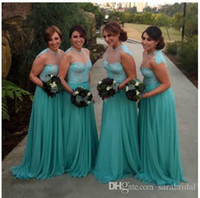 Wholesale 2016 Aqua Bridesmaid Dress Long Sheer Collar Lace Chiffon Beach Garden Junior Maid Of Honor Prom Gown Wedding Party Evening Dress Cheap