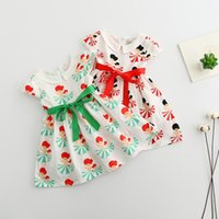 Spring / Autumn beauty denim shorts - Cute Baby Girls Ruffles Print Tied Bowknot Petal Pan Collar Dress Print Beauty Red and Green Color Summer Dress