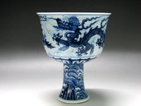 angels bowls - China blue and white porcelain high bowl draw three dragons seawater X U I mark