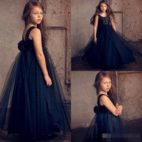 baby pageant wear - 2017 Toddler Navy Blue Flower Girl Dresses With Sequins Cheap Sexy Baby Little Girls Kids Formal Wear Ball Gowns Tutu Pageant Party Dress