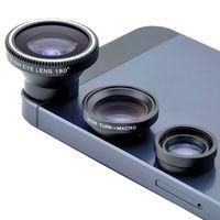 Wholesale Fisheye In HD Universal Clip Camera Mobile Phone Len Fish Eye Macro Wide Angle for Iphone Samsung LG