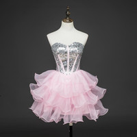bandage crepe - Organza Pink Short Sleeves Cheap Prom Dresses Beading Special Occasion Plus Size Formal Straples Party Holiday Gowns Dresses Evening Wear