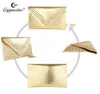 Wholesale Cappuccino new collection high quality pu leather ladies fashion evenlop clutch bags
