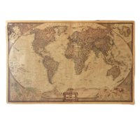Wholesale Large Vintage World Map Home Decoration Detailed Antique Poster Wall Chart Retro Paper Matte Kraft Paper Map of World