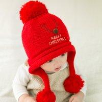 baby velvet yarn - Baby red Christmas necessaryhat deer and velvet woolen yarn lovely set head keep warm practical multicolor