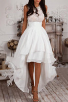 beach africa - Summer Beach High Low Wedding Dresses Jewel Neck Sleeveless Lace Top Tieres Chiffon Skirts A Line Bridal Gowns South Africa Wedding Gowns