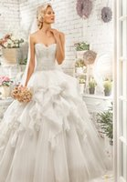 Wholesale Special Design Floor Length Sweetheart Neck Ball Gown Wedding Dresses With Tiered Train And Full Beads On Top Lace Up Backs