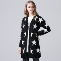 Wholesale Womens Fashion Cardigan Sweater with Printed Long Sleeve Cotton Long Sweater with Star Off Shoulder Free Size