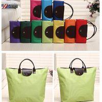 Wholesale Chic Portable Tote Fashion Reusable Oxford Bag Hot Sell Folding Shopping Travel Bag Colorful Handbags Eco Recycle Beach Shoulder Bag F97