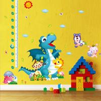 height measurement ruler - Cartoon Animals Dinosaur Wall Stickers Kids Height Measurement Wall Decals Height Growth Chart Wallpaper Poster Height Ruler Wall Mural Art