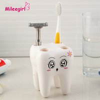 bathroom accessories prices - Teeth Style Toothbrush Holder Hole Cartoon Toothbrush Stand Tooth Brush Shelf Bracket Container Bathroom Accessories Set price