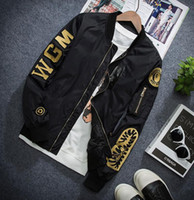 Wholesale MA1 pilot jacket thin section of the wave licensing embroidery windbreaker male air force stand collar coat