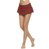 venda por atacado mini plaid skirt-Mulheres Moda Sexy Lady Schoolgirl Cosplay Pijamas Plaid Noite Super Mini saia plissada Saia curta tamanho S M L XL XXL