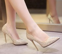 ballet pumps sale - Hot Sales Women Fashion High Heeled Shoes Bride Wedding Shoes Gold Party Dress shoes Size Pointed Toe Girl Shoe