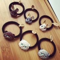 Métal Lapin et chat Attaches de cheveux Bandes de cheveux accessoire de cheveux support de queue de cheval pour les filles d'enfant femme style vintage lapin de Pâques