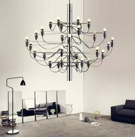10 to 14 Inch art hotel italy - 18 Lights Italy FLOS Gino Sarfatti Pendant Lighting E14 Bulbs Big Chandelier Gold Chrome Modern Dining Pendant Lamps