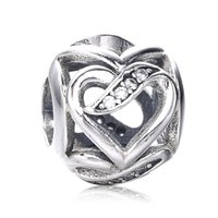 achat en gros de pandora amour perle-2017 Nouvelle collection Authentiques Rubans d'Amour Charme de Perles Avec CZ Fit Original Pandora Bracelet Vente en gros