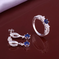 Wholesale wedding Water drops blue silver plated jewelry sets for women WS640 nice silver earring ring set
