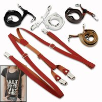 Wholesale Lady Adjustable Faux Leather Clip On Y Back Pants Braces Suspender Max length Approx cm clips not included