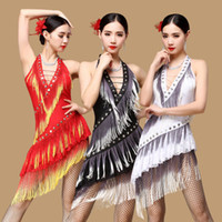 Wholesale Dancing Dress New Performance Ballroom Dancing Salsa Dance Dresses with Tassels Samba Carnival Costumes Latin Dance Dress Wome