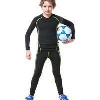 achat en gros de pantalons de jeunesse gros-Vente en gros - 2017 New Kids Boys compression runing pantalon shirts set jerseys survetement football football jeunesse formation collants maigres leggings