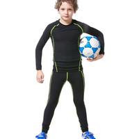 Wholesale New Kids Boys compression runing pants shirts set jerseys survetement football youth soccer training skinny tights leggings