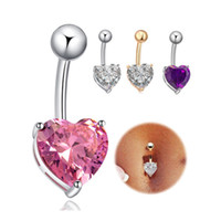 Wholesale 18K Yellow White Gold Plated AAA Top Quality Cubic Zirconia Heart Piercing Navel Bell Button Ring Sexy Body Jewelry for Women