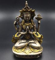 Wholesale Tibet Buddhism Silver Copper Gilt four hands Arm Kwan Yin Guan Yin Buddha Statue