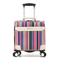 Wholesale special patterns rainbow Leather PU Business Travel Suitcase Trolley Travel Bag On Wheels Boarding Luggage Tote Backpack