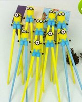Wholesale 2016 new Minions Despicable Me kids cartoon training Chopsticks promotional chopsticks children s silicone learning chopsticks A323